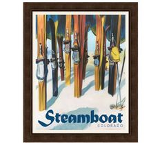 Vintage Home Framed Steamboat Vintage Ski Poster - This crowded scene at Big Sky in the is rendered with rich color and accurate detail, from the glorious late-afternoon light to the long dark shadows skiers cast on the slopes. Pottery Barn, Ski Decor, Lodge Decor, Vintage Ski Posters, Framed Maps, Steamboats, Vintage Art, Vintage Photos, Vintage Style
