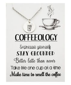 This Sterling Silver Coffeeology Pendant Necklace & Card is perfect! #zulilyfinds