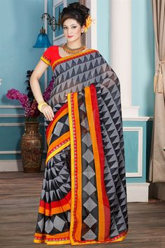 Casual Printed Black And Grey Color Georgette Sare