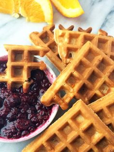 Waffle Dippers with Orange Berry Compote | thelemonbowl.com | #waffles #healthy #breakfast #brunch