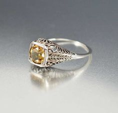 Engagement Sterling Silver Filigree Citrine Ring – Boylerpf