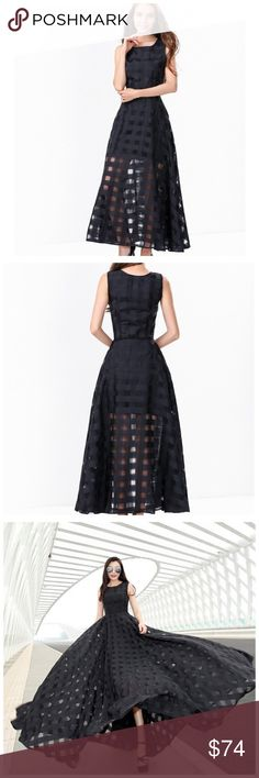 "Black Basket Weave Full Swing Skirt Dress ‼️ PRICE FIRM ‼️ 10% DISCOUNT ON 2 OR MORE ITEMS FROM MY CLOSET ‼️  Black Check Full Dress  Retail $125  Stunning dress. Perfect for year round wear. 100% polyester. This is part of my store's private label collection.  SMALL Bust 36"" Waist 28"" Length of garment 54"" MEDIUM Bust 38"" Waist 30"" Length of garment 54"" Dresses"