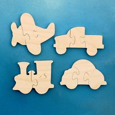 Childrens Wood Puzzles - Airplane Train Car Truck - Set Of 4 Wooden Toy Vehicle…