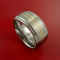 Wide Titanium and 14K Yellow Gold Inlay Ring Wedding Band Any Size and Finish Sizing 3-22 MK