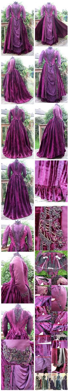 Victorian Plum Coloured Striped Beaded Velvet and Silk Faille Reception Gown / Dress dated to 1886/1887 Ebay:Madaboutfans