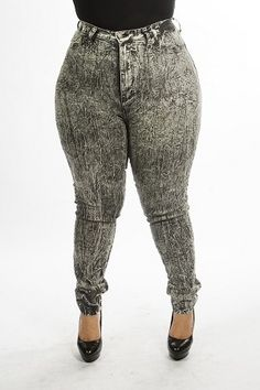 Grunge Grudge Distressed High Waist Plus Size Jeans - Light from