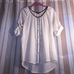 ❤️ Nice blouse❤️ ❤️Dressy and feminine white & black trim blouse by Express, Size L, worn a few times, good condition. Express Tops Blouses