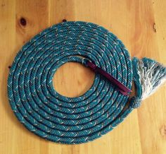 "Custom Paracord Mecate 12 strand 5/8"" 22' Teal/Charcoal/Tan"