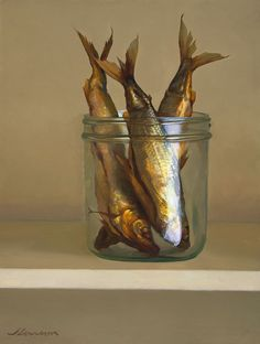"""Fish in a Jar"" Jeffrey T. Larson oil on panel ~13.5 x 10.25 inches ~2006"