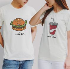 Burger and coke couple Tshirt couple tshirts couple shirts couple set gift for… Funny Couple Shirts, Couple Tees, Couple Tshirts, Funny Couples, Matching Couple Outfits, Matching Couples, Matching Shirts, T Shirt Painting, Cool Shirts
