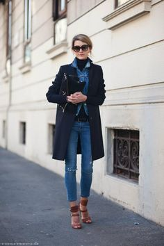Jeans com jeans + sobretudo!