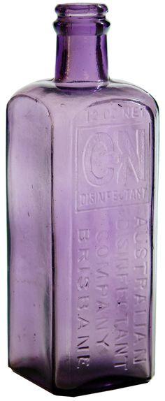 CN Disinfectant. Australian Disinfectant Company Brisbane. Darker Amethyst bottle. c1910s Antique Bottles, Vintage Bottles, Bottles And Jars, Glass Bottles, Perfume Bottles, Old Medicine Bottles, Purple Amethyst, Brisbane, Auction