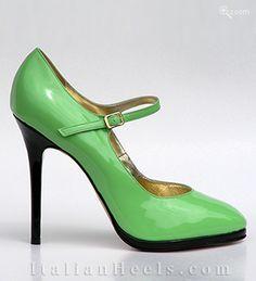 ItalianHeels.com: pumps: Luisetta 3677 - 125mm slim 5mm plat. BlackMint Pumps