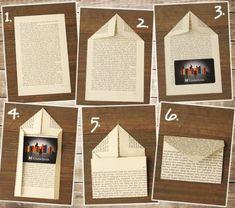 Envelope Art - Pen pal ideas - DIY envelope from book page Envelope Diy, Envelope Origami, How To Make An Envelope, How To Make Envelopes, Album Journal, Scrapbook Journal, Diy Paper, Paper Crafts, Fabric Crafts