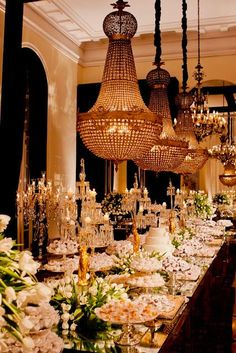 Elaborate wedding dessert table