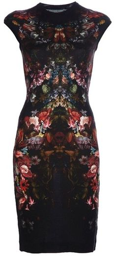 Is it so wrong that I fucking love this? Alexander Mcqueen Tapestry Print Pencil Dress in Floral (black) - Lyst