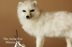 White Fox, Arctic Fox, needle felted animal, soft doll, fox figurine, needle felting fox, snow fox, faux taxidermy miniature
