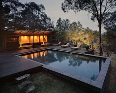 Commissioned as a weekender, this simple yet unconventional pavilion grew to include extensive landscaping, a swimming pool and pool house as well as sauna f...