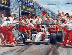 Ayrton Senna making a routine pit stop on his way to victory in the 1993 Australian Grand Prix driving a McLaren Ford MP4 on the 07/11/93 at the Adelaide Circuit. This 104th Victory made McLaren the most succesful team in the history of F1.  Artist: Alan Fearnley Featured Make: Ford Featured Model: McLaren MP4 Featured Drivers: Ayrton Senna Featured Location: Australia - Grand Prix Featured Year: 1993 Dimensions: Image Size: 545mm x 360mm Limited Edition: 850 Signatories: Ron Dennis