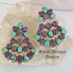 Oscar Betz VINTAGE Sugilite & Spiderweb Turquoise LARGE CLIP Earrings | Schaef Designs  | New Mexico