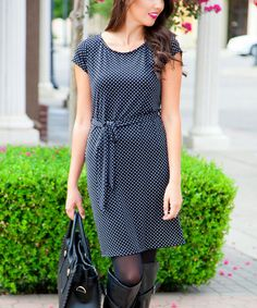 Love this Black & White Polka Dot Cap-Sleeve Scoop Neck Dress by White Plum on #zulily! #zulilyfinds