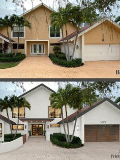 We use 6 tips for choosing the perfect garage door for your home's style. There are considerations to think about when selecting a garage for your home. House Paint Exterior, Exterior House Colors, Exterior Design, Interior And Exterior, White Stucco House, Home Exterior Makeover, Exterior Remodel, House Makeovers, House Front