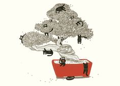 """""""Bonsai Cats"""" t-shirt design by Marina Tkach - I love that there's one hiding under the planter.  Very sneaky."""
