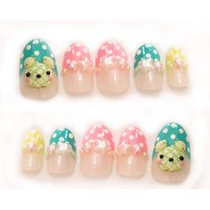 Melonpan, pop kei, fairy kei, pastel nails, 3D nails, false nails,... ($21) ❤ liked on Polyvore featuring beauty products, nail care and nail treatments