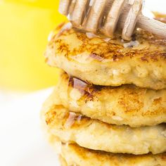 An asolutely mouth water gluten free pancake recipe made with hints of cinnamon and drizzled with honey.. Fluffy Cinnamon Cottage Cheese Pancakes Recipe from Grandmothers Kitchen.