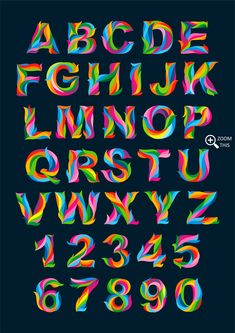 Full Color Alphabet + Numbers Vector - Graphics - 6