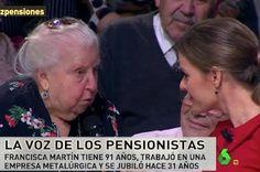 Paquita, la pensionista cuyo discurso social revolucionó 'LaSexta Noche'. El Huffington Post, 2017-01-15 http://www.huffingtonpost.es/2017/01/15/pensionista-la-sexta-noche_n_14180534.html