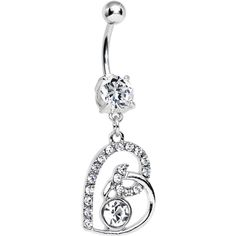 Clear Gem Bright Twisted by Love Heart Dangle Belly Ring   Body Candy Body Jewelry #bodycandy
