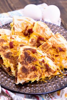 Bacon, Egg & Cheese Quesadillas Recipe ~ Crispy, Pan Fried Tortillas Stuffed with Bacon, Egg & Cheese! Makes the Perfect Quick, Easy Breakfast Recipe! ~ http://www.julieseatsandtreats.com