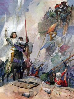 """'France and St. Denys'.  Illustration by Frank E. Schoonover from """"Joan of Arc"""" (1918)"""