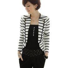 Mujeres de la capa del cortocircuito chaqueta chaqueta de un botón de rayas blanco y negro Tops(China (Mainland))