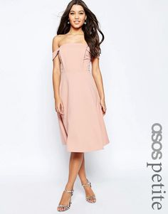 ASOS PETITE Midi Dress with Tab Shoulder and Full Skirt - Nude μόνο 34.00€ #deals #style #fashion