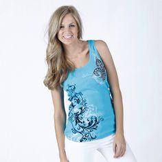 "Turquoise FLEUR & VINES Tank Top $25.00 + FREE shipping when you enter the coupon code ""PINTEREST"" during checkout online #fleurdelis #LSU #LA #madeinusa #fashion"