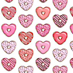 (small scale) heart shaped donuts - valentines red and pink fabric by littlearrowdesign on Spoonflower - custom fabric Valentines Wallpaper Iphone, Heart Iphone Wallpaper, Apple Watch Wallpaper, Cute Wallpaper Backgrounds, Wallpaper S, Cute Wallpapers, Iphone Wallpapers, Valentines Day Background, Happy Valentines Day