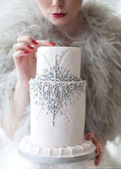 """gorgeous winter themed wedding cake… very art deco """
