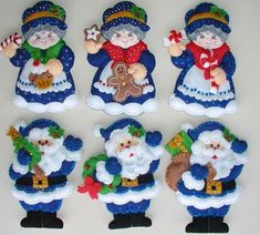 Bordados Oma - Porta Cubiertos Sra Noel Christmas Ornament Template, Christmas Ornaments To Make, Christmas Sewing, Felt Ornaments, Christmas Projects, Handmade Christmas, Homemade Christmas Decorations, Holiday Crafts, Felt Stocking