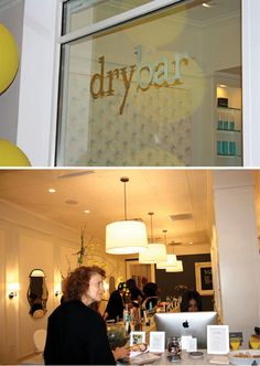 Dry Bar....as in blow dry bar for your hair! The interior is like a swanky drink bar.