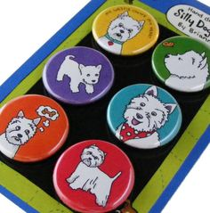 Westie West Highland Terrier Magnet Set by SillyDogMagnets on Etsy, $8.99
