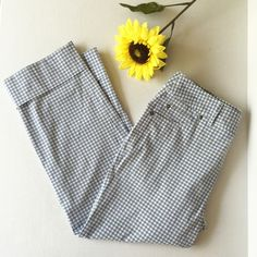 Anthropologie Cropped Gingham Pants By Sitwell from Anthropologie.  Blue, grey, and white gingham.  In excellent preowned condition. Anthropologie Pants Ankle & Cropped