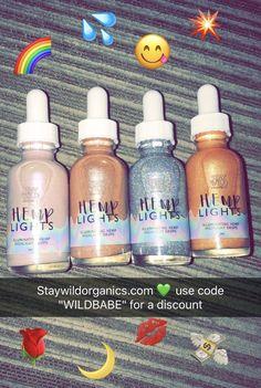 Hemp lights liquid highlight drops from staywildorganics.com #beauty #cosmetics #makeup