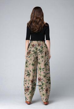 Maxi linen pants Flower Pattern pantsWomen 's Pants Salwar Pants, Maxi Pants, Palazzo Pants, Harem Pants, Pleated Pants Womens, Fashion Pants, Fashion Dresses, Wide Leg Linen Pants, Pants Pattern