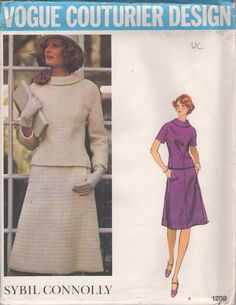 Vogue 1208 Vintage 70's Sewing Pattern CHARMING Couturier Designer Sybil Connolly Darted Seam Detail Back Buttoned Blouse, Gored Skirt, 2 Piece Mod Day Dress #MOMSPatterns