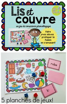 Lis et couvre - Un jeu pour la fusion (FRENCH Read & Cover - blending practice) French Teacher, Teaching French, Teaching Spanish, Reading Games, Guided Reading, Inquiry Based Learning, Kids Learning, French Alphabet, Blending Sounds