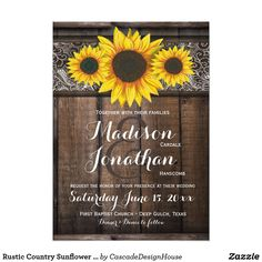 Rustic Country Sunflower Wood Wedding Invitations  #sunflowerwedding #RusticWeddingInvitations