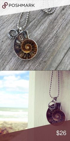 """Seashell Fossil & Mermaid Necklace Handmade with the mermaid soul in mind! Beach, boho and just right. Large fossilized spiral seashell pendant with small mermaid charm. Silvertone ball chain is 18"""" long or available in custom length upon request. Shell is about 1.5"""" long and mermaid .5"""" Alloy free. Perfect gift for the sea or mermaid lover! Wild Arrow Jewelry Necklaces"""