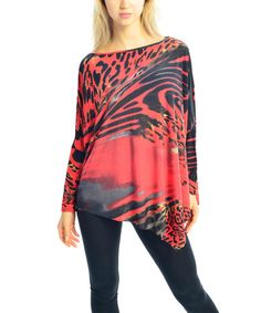 Another great find on #zulily! Red Jungle Asymmetrical Dolman Top by Zac Studio #zulilyfinds